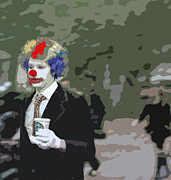 Coffee Drinking Digital Art Prints - Clown around town Print by Kevin Barron