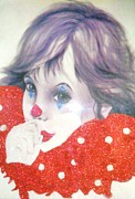 Animal Themes Painting Prints - Clown Baby Print by Unique Consignment
