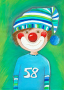 Crafts For Kids Prints - Clown Boy Print by Sonja Mengkowski