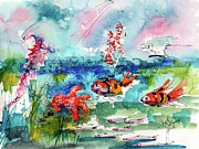 Aquarelle Framed Prints - Clown Fish Deep Sea Watercolor Framed Print by Ginette Fine Art LLC Ginette Callaway