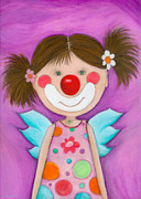 Crafts For Kids Prints - Clown Girl Angel Print by Sonja Mengkowski