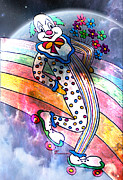 Roller Skates Posters - Clown In Love Poster by Tammera Malicki-Wong