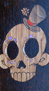 Sugar Skull Pyrography Posters - Clown Poster by Marlon Ivory