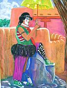 Taos Pastels Prints - clown on Taos plaza Print by George Chacon