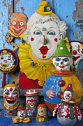 Dolls Posters - Clown toys Poster by Garry Gay