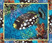 Sealife Tapestries - Textiles Metal Prints - Clown Triggerfish-Bordered Metal Print by Sue Duda