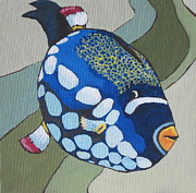 Triggerfish Painting Posters - Clown Triggerfish Poster by Sandy Tracey