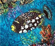 Fish Tapestries - Textiles Acrylic Prints - Clown Triggerfish Acrylic Print by Sue Duda