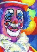 Children Pastels Framed Prints - Clown with Balloons Framed Print by Stephen Anderson