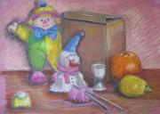 Toys Pastels - Clown with Cardboard Box by Geraldine Leahy