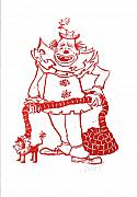 Linoleum Art - Clown with Dog by Barry Nelles Art