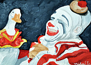 Circus. Paintings - Clown With Duck by Michael Lee