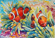 Clownfish In Their Paradise Print by Barbara Pommerenke