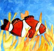 Clown Fish Mixed Media - Clownfish Marine Sealife Art Print by Derek Mccrea