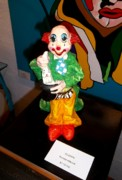 Paper Mache Sculptures - Clowns Logic 14 Clown and Rabbit by Perez