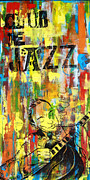 French Mixed Media Framed Prints - Club de Jazz Framed Print by Sean Hagan