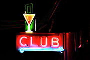Nightclub Posters - CLUB Neon Sign Poster by Melany Sarafis