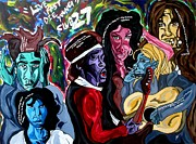 Jimmy Hendrix Paintings - Club27 - Live Fast Die Young by Jason JaFleu Fleurant
