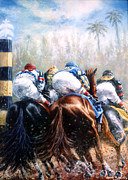Thoroughbred Prints - Clubhouse Turn at Gulfstream Print by Thomas Allen Pauly