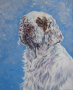 Spaniel Puppy Paintings - Clumber Spaniel in Snow by Lee Ann Shepard
