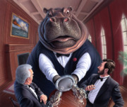 Hippopotamus Art - Clumsy by Jerry LoFaro