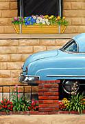 Vintage Car Digital Art Framed Prints - Clunker in the Garden Framed Print by David Kyte