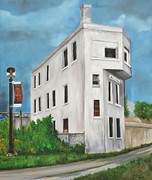Old Buildings Paintings - CN Wellington Control Station by Reb Frost