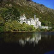 Reflection Of Buildings In Water Prints - Co Galway, Kylemore Abbey Print by The Irish Image Collection