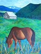 Grazing Horse Originals - CO Grazing Horse and Cabin by Kathryn Barry