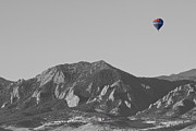 Selective Color Framed Prints - CO Rocky Mountain Front Range Hot Air Balloon View BW Framed Print by James Bo Insogna