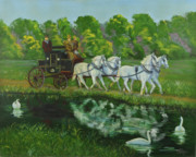 Horses In Harness Prints - Coach And Four In Hand Print by Charlotte Blanchard