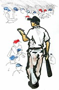 Baseball Drawings Posters - Coach Mac teaching the younglings  Poster by David  Beers