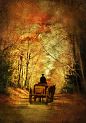 Carriage Road Photos - Coach on a Road in Autumn by Jill Battaglia