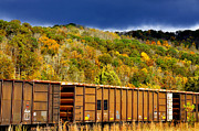 Coal Prints - Coal Cars and Fall Color Print by Thomas R Fletcher