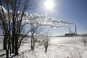 Winter Storm Photos - Coal Fired Power Plant In Winter by Skip Brown