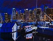 Skylines Painting Originals - Coal Harbour by Ginevre Smith
