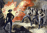 Fire Equipment Framed Prints - Coal Mine Fire, 19th Century Framed Print by Sheila Terry