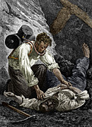 Rescuing Prints - Coal Mine Rescue, 19th Century Print by Sheila Terry