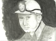 Coal Drawings Prints - Coal Miner - Two Gun Print by John Smith
