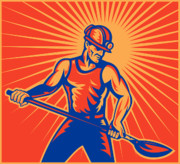 Woodcut Posters - Coal miner at work with shovel front view Poster by Aloysius Patrimonio