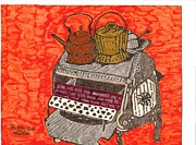 Coal Drawings Prints - Coal Stove Print by Peggy Sue Medina