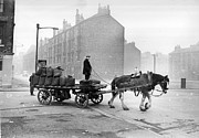 Horse And Cart Photo Metal Prints - Coalman And Cart Metal Print by Albert McCabe