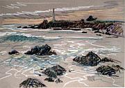 Lighthouse Drawings - Coast at Pigeon Point Lighthouse by Donald Maier