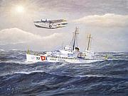 Warship Painting Posters - Coast Guard Cutter Pontchartrain and Coast Guard Aircraft  Poster by William H RaVell III