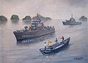 Warship Painting Posters - Coast Guard Cutters PT Hudson and PT Grace in Vietnam Poster by William H RaVell III