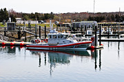 Docked Boats Framed Prints - Coast Guard Framed Print by Extrospection Art