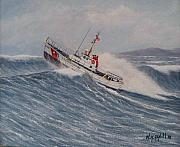 Coast Guard Painting Posters - Coast Guard Motor Lifeboat Intrepid Version 2 Poster by William H RaVell III
