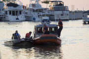 Seizing Prints - Coast Guard patrol directing boat traffic in harbor Print by Purcell Pictures