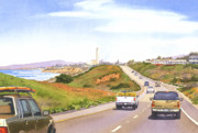 Highway Painting Posters - Coast Hwy 101 Carlsbad California Poster by Mary Helmreich