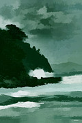 Beautiful Landscape Photos Digital Art - Coast line storm oil effect by Tom Prendergast